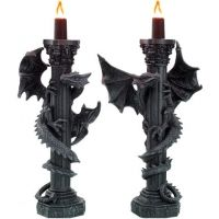 Guardians of the Light Pair of  Dragon Candlesticks