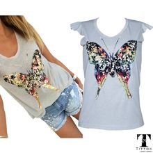 2017 summer t shirts for women 3D Sequined Butterfly short Sleeve grey t shirt kawaii womens clothing summer tops cute tees(China (Mainland))