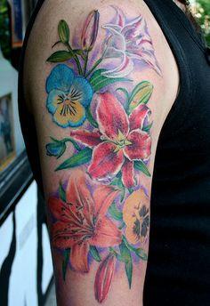 Lovely floral half sleeve tattoo amaryllis tattoo, tattoos new tattoos, body art Pansy Tattoo, Tattoo On, Cover Tattoo, Body Art Tattoos, Cool Tattoos, Awesome Tattoos, Space Tattoos, Tattoo Time, Flash Tattoos