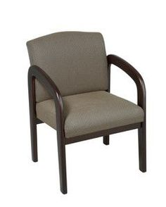 Office Star Espresso Finish Wood Visitor Chair with Taupe Fabric WD388-316