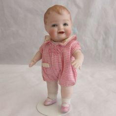 "4 3/4"" All Bisque Bonnie Babe Doll with Pink Shoes and Extra Dress"