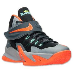Kids' Grade School Nike Zoom LeBron Soldier 8 Basketball Shoes  | Finish Line | Dark Magnet Grey/Hyper Crimson