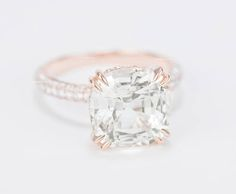 CERTIFIED - GIA Certified Square Cushion 5.52 CT Light Peach Champagne Sapphire & Diamond Engagement Ring 18K Rose Gold