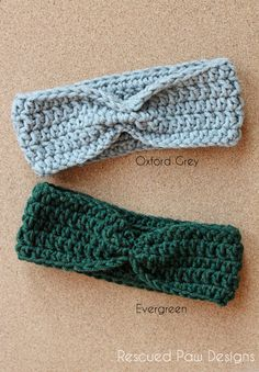 Crochet Ear Warmer Headband Featured in Oxford Grey & Evergreen