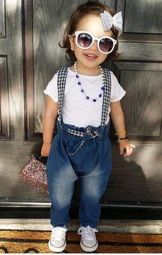 👧🏻Elle,👶🏻 Ever & mom Linda ( Suspender Jeans, Moda Instagram, Beautiful Smile, Toddler Fashion, Baby Kids, Shop Now, Kids Outfits, Dressing, Monet