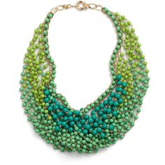 Statement of the Art Necklace in Peacock ($35) ❤ liked on Polyvore featuring jewelry, necklaces, accessories, green, collares, collar necklace, bead necklace, peacock feather necklace, green bead necklace and beaded jewelry