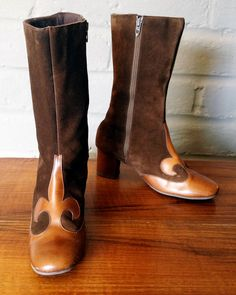 MOD Boots Vintage 1960s 60s Carnaby Street Twiggy Style Brown Suede & Leather Gogo Go go boots