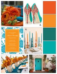 Teal And Orange Inspiration Board Wedding Colors Themes Color
