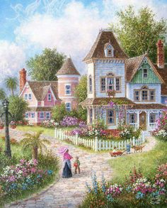 Diamond Painting Victorian Homes Kit Thomas Kinkade, Victorian Art, Victorian Homes, Victorian Cottage, Paintings I Love, Beautiful Paintings, Pretty Pictures, Art Pictures, Image Nature