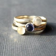 Indigo Moon- iolite and white moonstone sterling stacking ring set. $100