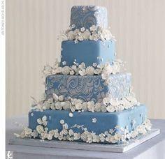 Real Weddings - The Cake Beautiful Wedding Cakes, Beautiful Cakes, Amazing Cakes, Paisley Wedding Cakes, Sky Blue Weddings, Real Weddings, Blue Cakes, Unique Cakes, Creative Cakes