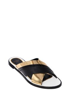 lanvin - women - flats - 10mm metallic leather cross sandals