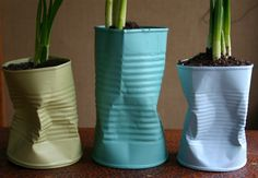 Recycled Planters - Teacups, Pop Bottles, Coffee Cans. Recycle Cans, Recycling, Upcycle, Reuse, Tin Can Crafts, Diy Crafts, Paint Can Planters, Recycled Planters, Tin Can Art
