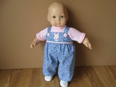 Blue Flowered Overalls Pink TShirt and Diaper by PlentifulThreads, $15.00