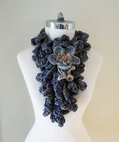 Blue Grey Floral Sculptural Scarf Grey by ValerieBaberDesigns