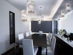 Luxury indirekte led beleuchtung abgeh ngte decke esszimmer kristallleuchten