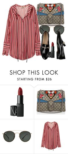 """""""Untitled #5710"""" by beatrizvilar on Polyvore featuring NARS Cosmetics, Gucci, Ray-Ban, Hellessy and Tommy Hilfiger"""