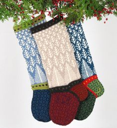 "PATTERNS provide clear written instructions, along with color charts for each colorway, to knit a Christmas stocking in the round. Stockings measure approximately 20""x7"", varying in size with individual designs. NEEDLES: Each design uses 3.5mm (US 4) needles in both 16"" and 24″ circular and double pointed (or size for knitting to gauge). If additional needles are required, they will be noted in the patterns listed below. GAUGE: 6 sts = one inch YARN: Rauma Strikkegarn (100% dk wool; 50 g..."