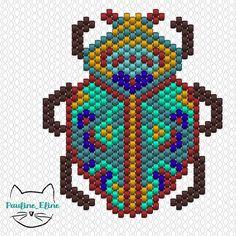 Diagramme scarabée! J'ai mis moins de deux heures à le tisser, il n'est pas compliqué, sauf les pattes en échelle... Bon dimanche ! #jenfiledesperlesetjassume #miyuki #perlesandco #perlesaddict #beadwork #beadpattern #diagrammeperles #bug #insecte #scarabée #beatles #brickstitch #motifpauline_eline