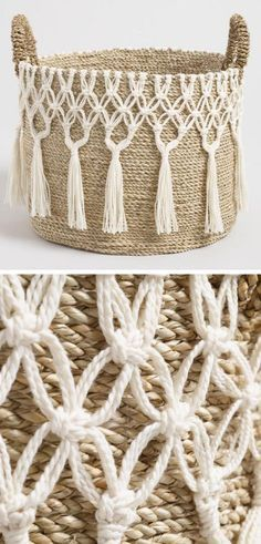 I love this large natural seagrass haven basket with white tasseled macrame desi ., I love this large natural seagrass haven basket with white tasseled macrame design. I will adore for display storage or both. Perfect for my bohemian . Passion Deco, Macrame Design, Macrame Art, Macrame Thread, Macrame Mirror, Macrame Curtain, Macrame Knots, Micro Macramé, Diy Curtains