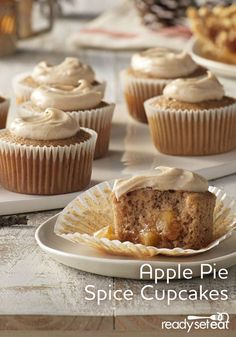 Moist and tender spice cupcakes with apple pie filling topped with cinnamon cheese frosting