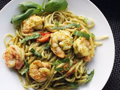 Skillet Pesto Pasta with Shrimp and Pine Nuts..made tonight but with rotini noodles. Will make again