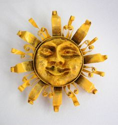 Fancy Feast Can, Upcycled Sun Face paper mache sun face upcycled by Martha Walton, $20.00