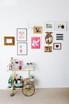 Bar cart + gallery wall