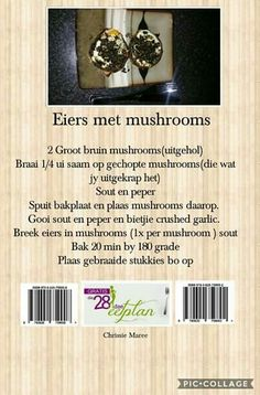 28 dae eetplan - Eiers met mushrooms Clean Eating Recipes, Diet Recipes, Recipies, Healthy Recipes, Easy Recipes, 28 Dae Dieet, Dieet Plan, Wine Bottle Art