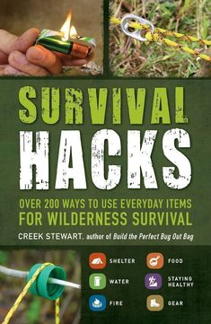 """Turn the items you use everyday into the provisions. Are you prepared if you needed to survive in the wilderness or off the grid. Survival expert Creek Stewart shares his plethora of information in practical, easy to use tricks to help you change your everyday items into essential and valuable gear. These """"Survival Hacks"""" will be given to you in easy steps in transforming items like soda tabs and plant leaves into survival tools. This book is perfect for doomsday preppers, hiking"""