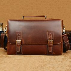 "Image of Vintage Top Grade Cow Leather Messenger Briefcase 14"" Laptop 15"" Macbook Ipad Case--FREE SHIPPING"