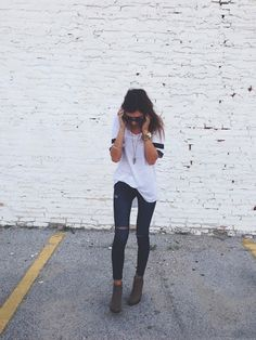 i like the simplicity. it's an athletic tshirt paired with skinnies & cute booties so it's casualcute