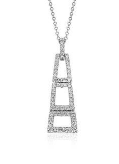 Dramatic deco-inspired, this pendant features brilliant round diamonds pavé-set in striking 14k white gold.
