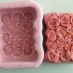 Silicone Handmade Soap Mould Solid Mold Oblong Roses   WholePort.com