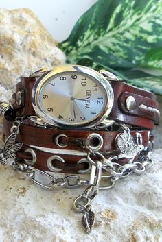 Leather watch with chain, Wrist Watch Steampunk, Hippie, Womens wrist watch with charm, Brown bracelet watch