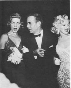 Marilyn Monroe - November 4, 1953 with Humphrey Bogart and Lauren Bacall - attending the premiere of How To Marry A Millionaire