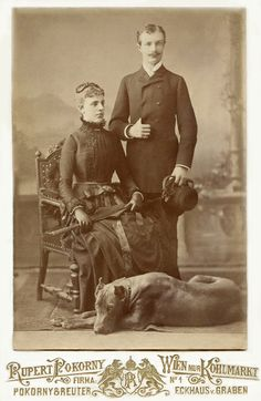+~+~ Antique Photograph ~+~+  Well to-do couple and their very large dog - wonderful portrait!