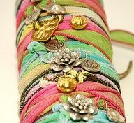 Ribbon bracelets.. DIY. Love these!!  Good ideas at http://pinterest.com/evl00/home-made-jewelry/