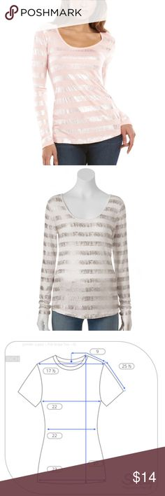 JLO Foil Striped Tee Long Sleeve Pale Pink XL NWT BRAND NEW WITH TAG:  Make this women's Jennifer Lopez tee a wardrobe staple. Foiled print adds eye-catching style to your wardrobe. In pale pink with silver foil stripe MSRP. $44  PRODUCT FEATURES  Scoopneck Long sleeves Soft jersey construction Foiled stripes in an uneven/ broken pattern  Fabric & Care 100% Rayon Hand wash  Actual measurements: Please refer to picture Jennifer Lopez Tops Tees - Long Sleeve