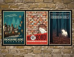Harry potter set of 3 travel poster vintage harry potter print geekery wall art house warming gift children room decor Harry Potter Bathroom, Harry Potter Set, Harry Potter Decor, Harry Potter Gifts, Harry Potter Wall Art, Chambre Luca, Harry Por, Hogwarts, Styles Harry