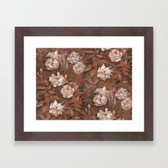 """White roses"" hand drawn vintage floral pattern in earth colors Framed Art Print by Clipso-Callipso 