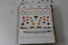 Fall themed planner stickers/ pumpkins/ trees by KuplinKreations