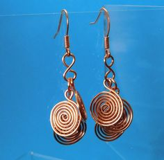 Unique Earrings for Girlfriend Gift, Multi Swirl Dangles, Natural Copper, Wire Spiral Clusters, Artistic Sculpture Jewelry, Wife Present