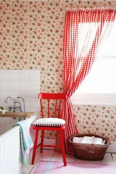 red chair and gingham