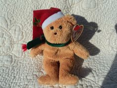 Miniature Beanie bear in Santa hat and scarf/ perfect stocking stuffer by WhiskeysWhims on Etsy