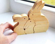Familia de conejos - conejo de madera - rompecabezas de madera conejo - Pascua…