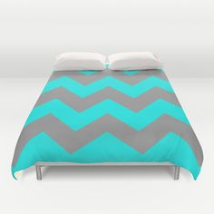 Chevron Turquoise Duvet Cover- $99.00  Ultra soft, lightweight, microfiber duvet covers. A durable, hidden zipper offers simple assembly for easy care. Available for queen and king duvets - duvet insert not included.  #duvet #bedding #cover #chevron #turquoise #blue #silver #pattern
