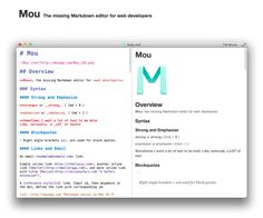 Mou is a free Markdown editor app for OS X