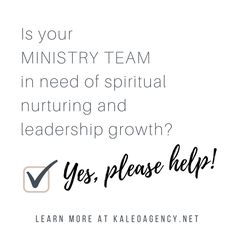 Is your ministry team in need of spiritual nurturing and leadership growth?