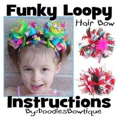 loopy hair bow   Custom Boutique Funky Loopy Bow Hair Bow Original Instructions NEW DIY ...